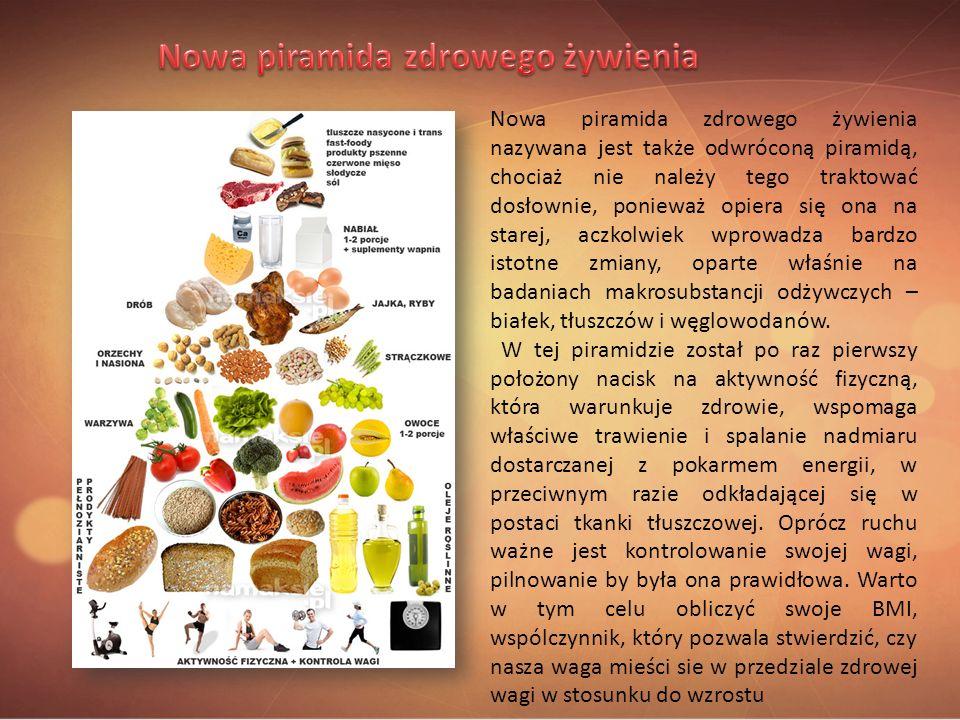 Nowa piramida zdrowego żywienia nazywana jest także odwróconą piramidą, chociaż nie należy tego traktować dosłownie, ponieważ opiera się ona na starej