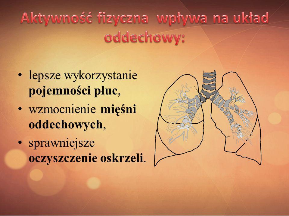 lepsze wykorzystanie pojemności płuc, wzmocnienie mięśni oddechowych, sprawniejsze oczyszczenie oskrzeli.