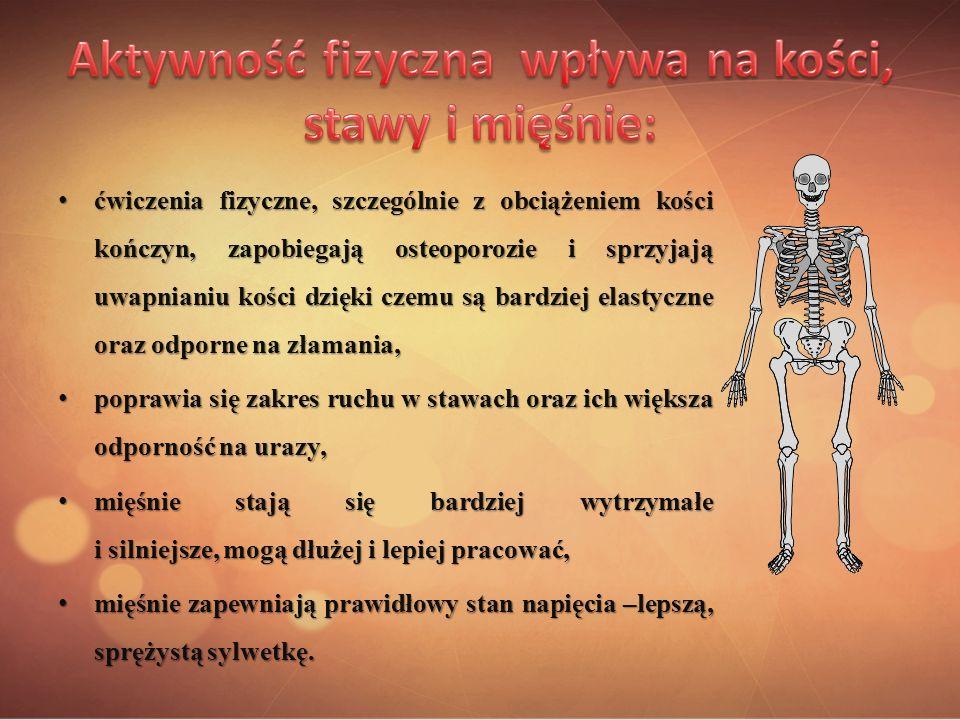 ćwiczenia fizyczne, szczególnie z obciążeniem kości kończyn, zapobiegają osteoporozie i sprzyjają uwapnianiu kości dzięki czemu są bardziej elastyczne