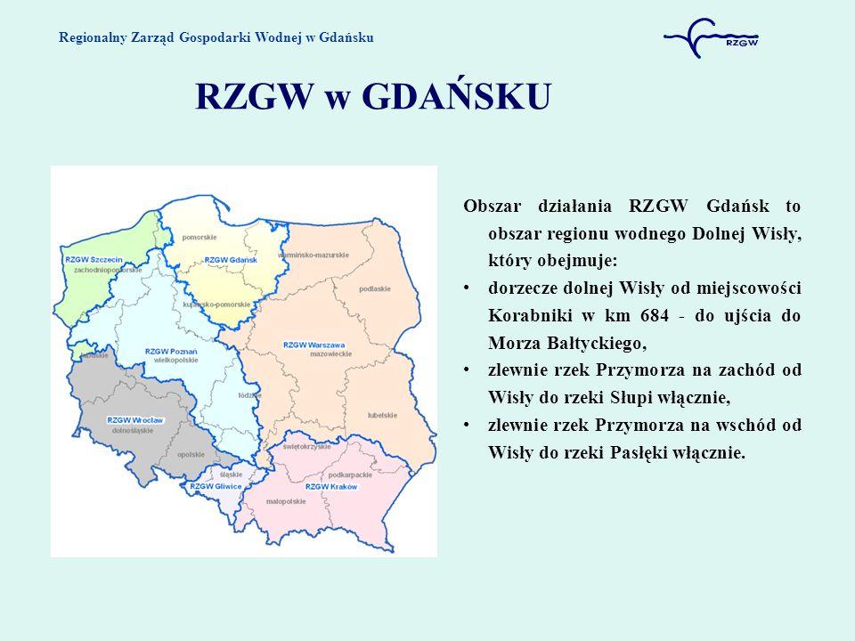 Regionalny Zarząd Gospodarki Wodnej w Gdańsku RZGW w GDAŃSKU Obszar działania RZGW Gdańsk to obszar regionu wodnego Dolnej Wisły, który obejmuje: dorz