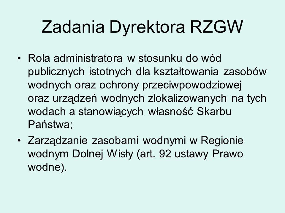 Zadania Dyrektora RZGW Rola administratora w stosunku do wód publicznych istotnych dla kształtowania zasobów wodnych oraz ochrony przeciwpowodziowej oraz urządzeń wodnych zlokalizowanych na tych wodach a stanowiących własność Skarbu Państwa; Zarządzanie zasobami wodnymi w Regionie wodnym Dolnej Wisły (art.