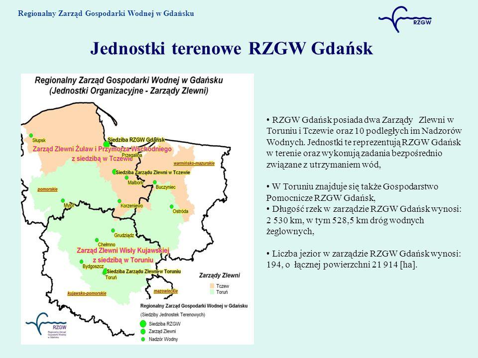 Regionalny Zarząd Gospodarki Wodnej w Gdańsku Jednostki terenowe RZGW Gdańsk RZGW Gdańsk posiada dwa Zarządy Zlewni w Toruniu i Tczewie oraz 10 podległych im Nadzorów Wodnych.