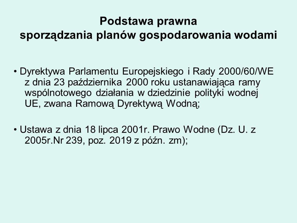 Podstawa prawna sporządzania planów gospodarowania wodami Dyrektywa Parlamentu Europejskiego i Rady 2000/60/WE z dnia 23 października 2000 roku ustanawiająca ramy wspólnotowego działania w dziedzinie polityki wodnej UE, zwana Ramową Dyrektywą Wodną; Ustawa z dnia 18 lipca 2001r.