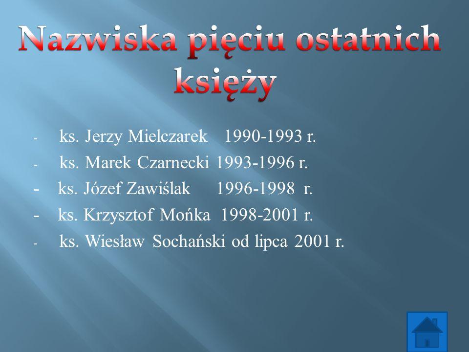 - ks. Jerzy Mielczarek 1990-1993 r. - ks. Marek Czarnecki 1993-1996 r. - ks. Józef Zawiślak 1996-1998 r. - ks. Krzysztof Mońka 1998-2001 r. - ks. Wies