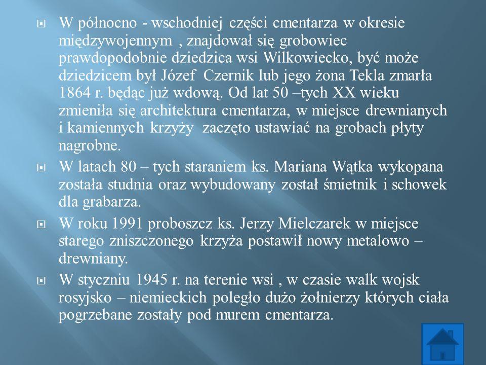 W północno - wschodniej części cmentarza w okresie międzywojennym, znajdował się grobowiec prawdopodobnie dziedzica wsi Wilkowiecko, być może dziedzic
