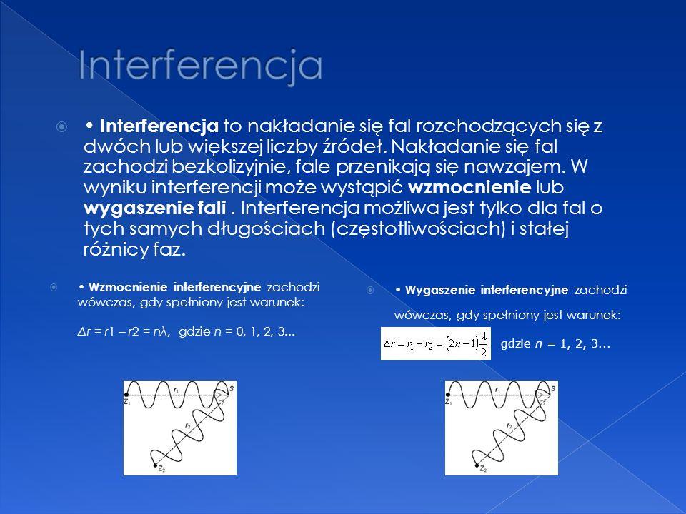 Wzmocnienie interferencyjne zachodzi wówczas, gdy spełniony jest warunek: Δr = r1 – r2 = nλ, gdzie n = 0, 1, 2, 3... Wygaszenie interferencyjne zachod