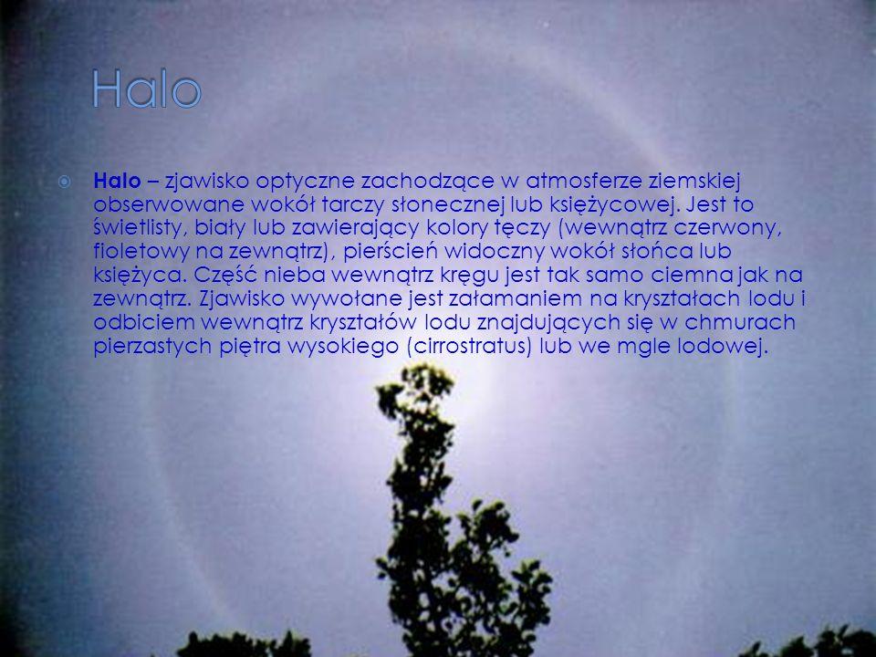 Halo – zjawisko optyczne zachodzące w atmosferze ziemskiej obserwowane wokół tarczy słonecznej lub księżycowej. Jest to świetlisty, biały lub zawieraj