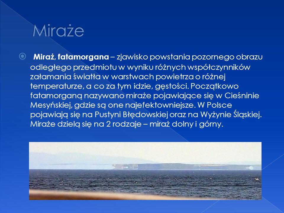 Miraż, fatamorgana – zjawisko powstania pozornego obrazu odległego przedmiotu w wyniku różnych współczynników załamania światła w warstwach powietrza