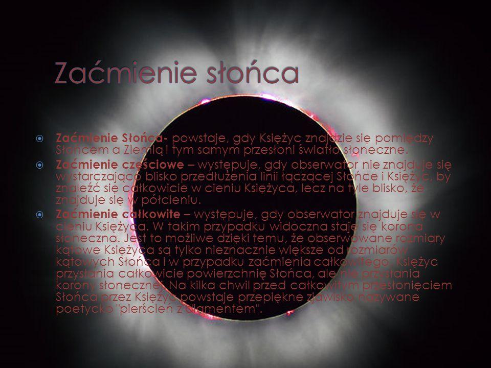 Zaćmienie Słońca- powstaje, gdy Księżyc znajdzie się pomiędzy Słońcem a Ziemią i tym samym przesłoni światło słoneczne. Zaćmienie częściowe – występuj