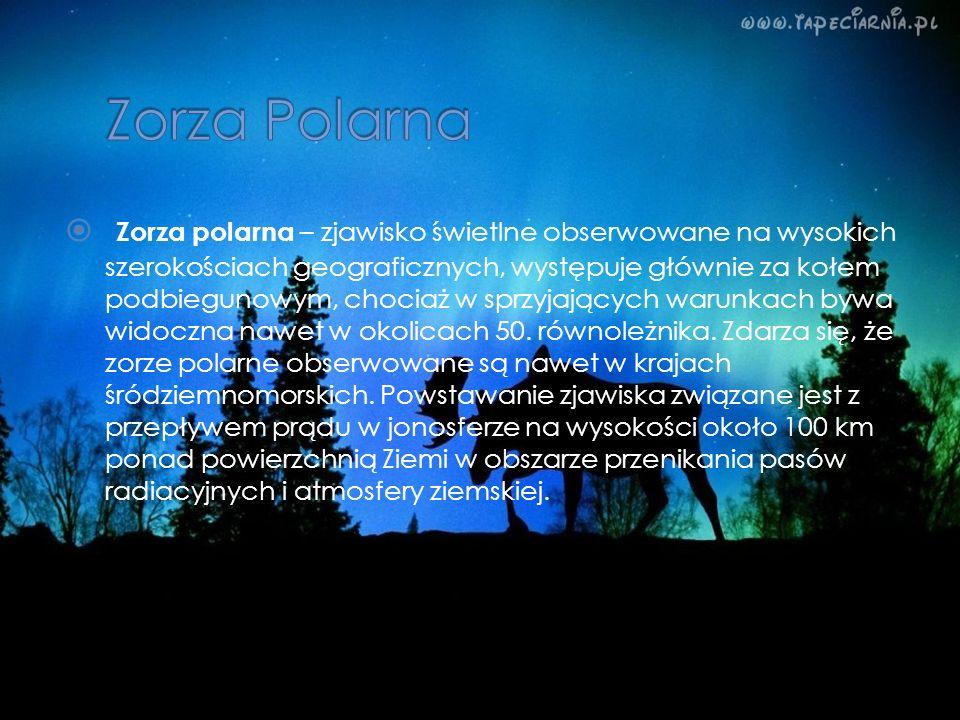 Zorza polarna – zjawisko świetlne obserwowane na wysokich szerokościach geograficznych, występuje głównie za kołem podbiegunowym, chociaż w sprzyjając