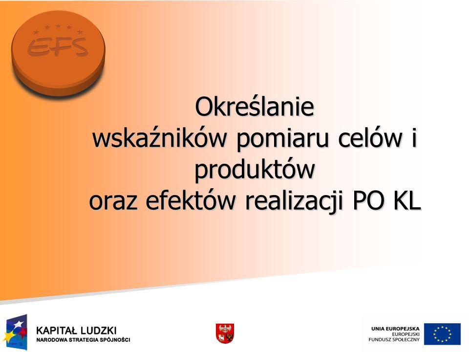 Określanie wskaźników pomiaru celów i produktów oraz efektów realizacji PO KL