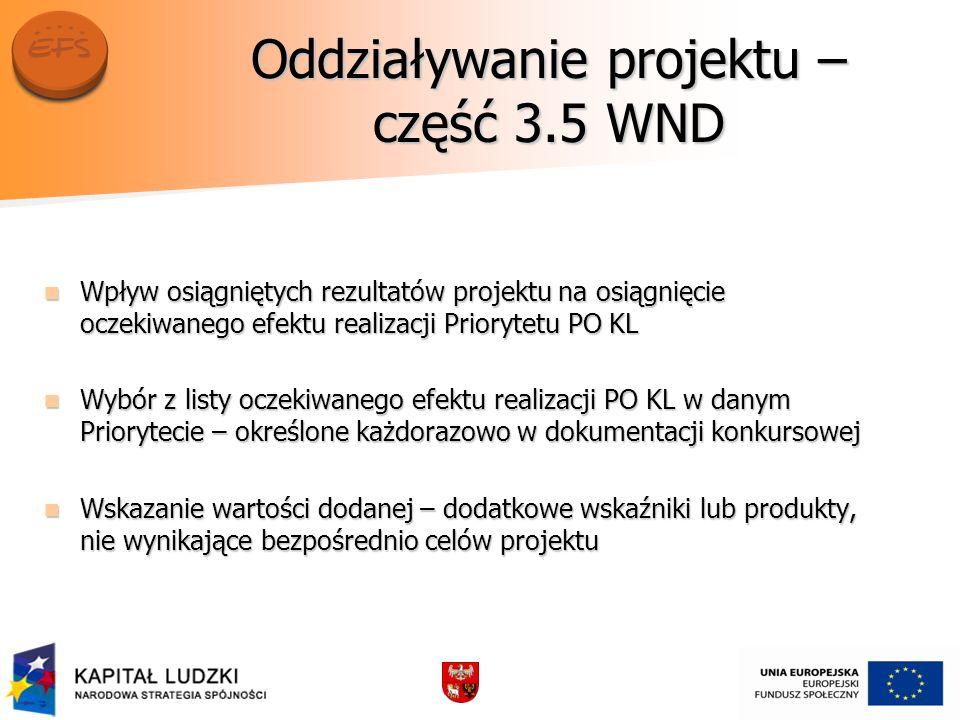 Oddziaływanie projektu – część 3.5 WND Wpływ osiągniętych rezultatów projektu na osiągnięcie oczekiwanego efektu realizacji Priorytetu PO KL Wpływ osi