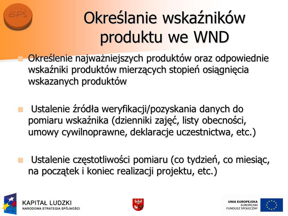 Określanie wskaźników produktu we WND Określenie najważniejszych produktów oraz odpowiednie wskaźniki produktów mierzących stopień osiągnięcia wskazan