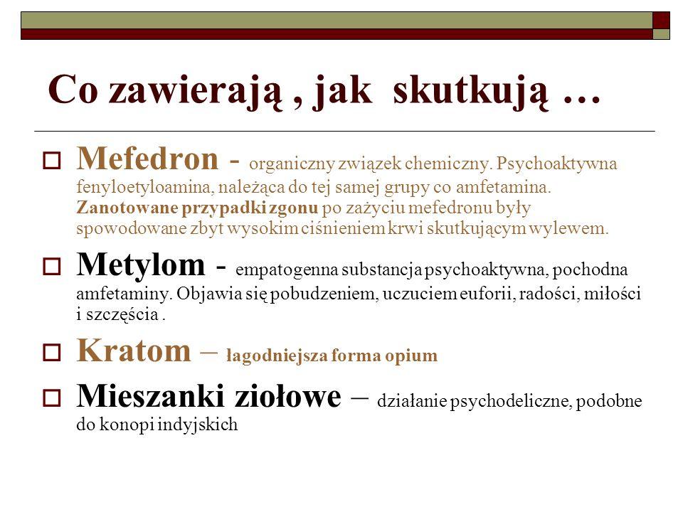 Co zawierają, jak skutkują … Mefedron - organiczny związek chemiczny. Psychoaktywna fenyloetyloamina, należąca do tej samej grupy co amfetamina. Zanot