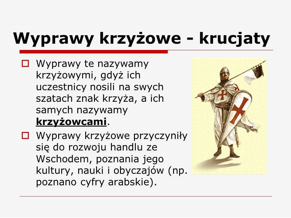 Wyprawy krzyżowe - krucjaty Dla ochrony pielgrzymów w Ziemi Świętej podczas krucjat powstały zakony rycerskie: -Krzyżacy (z.