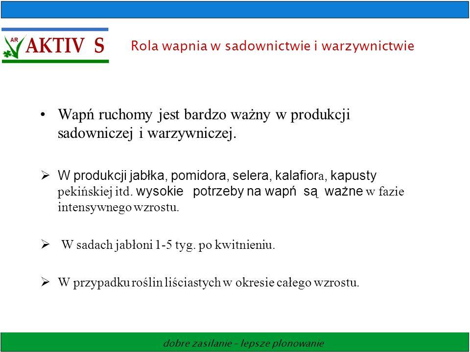 dobre zasilanie – lepsze plonowanie Rola wapnia w sadownictwie i warzywnictwie Wapń ruchomy jest bardzo ważny w produkcji sadowniczej i warzywniczej.