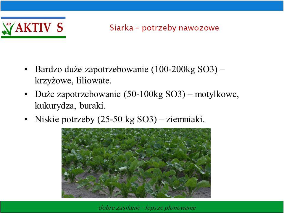 dobre zasilanie – lepsze plonowanie Siarka – potrzeby nawozowe Bardzo duże zapotrzebowanie (100-200kg SO3) – krzyżowe, liliowate. Duże zapotrzebowanie