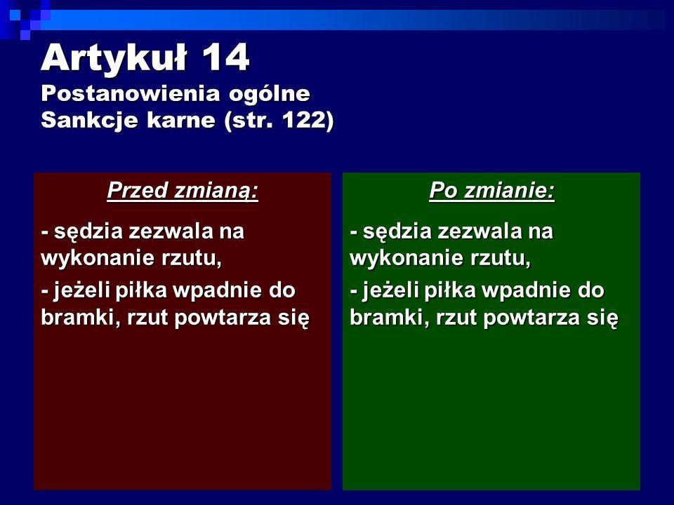 Artykuł 14 Postanowienia ogólne Sankcje karne (str.