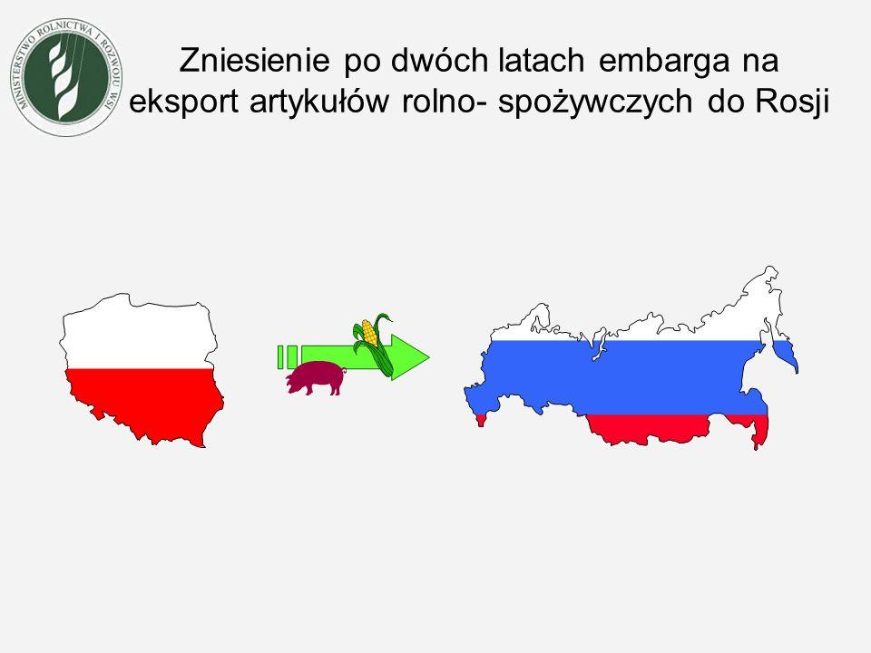 Zniesienie po dwóch latach embarga na eksport artykułów rolno- spożywczych do Rosji