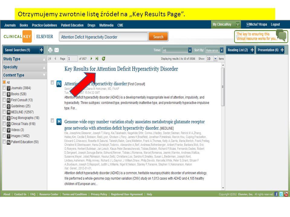 Otrzymujemy zwrotnie listę źródeł na Key Results Page.