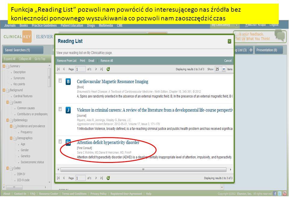 Funkcja Reading List pozwoli nam powrócić do interesującego nas źródła bez konieczności ponownego wyszukiwania co pozwoli nam zaoszczędzić czas