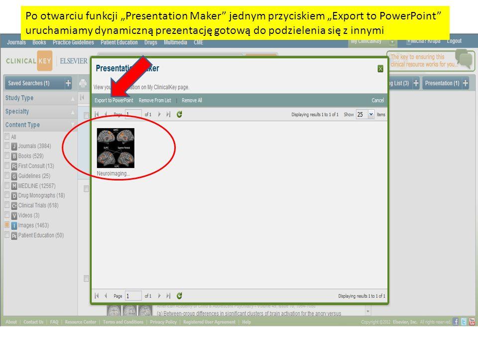 Po otwarciu funkcji Presentation Maker jednym przyciskiem Export to PowerPoint uruchamiamy dynamiczną prezentację gotową do podzielenia się z innymi