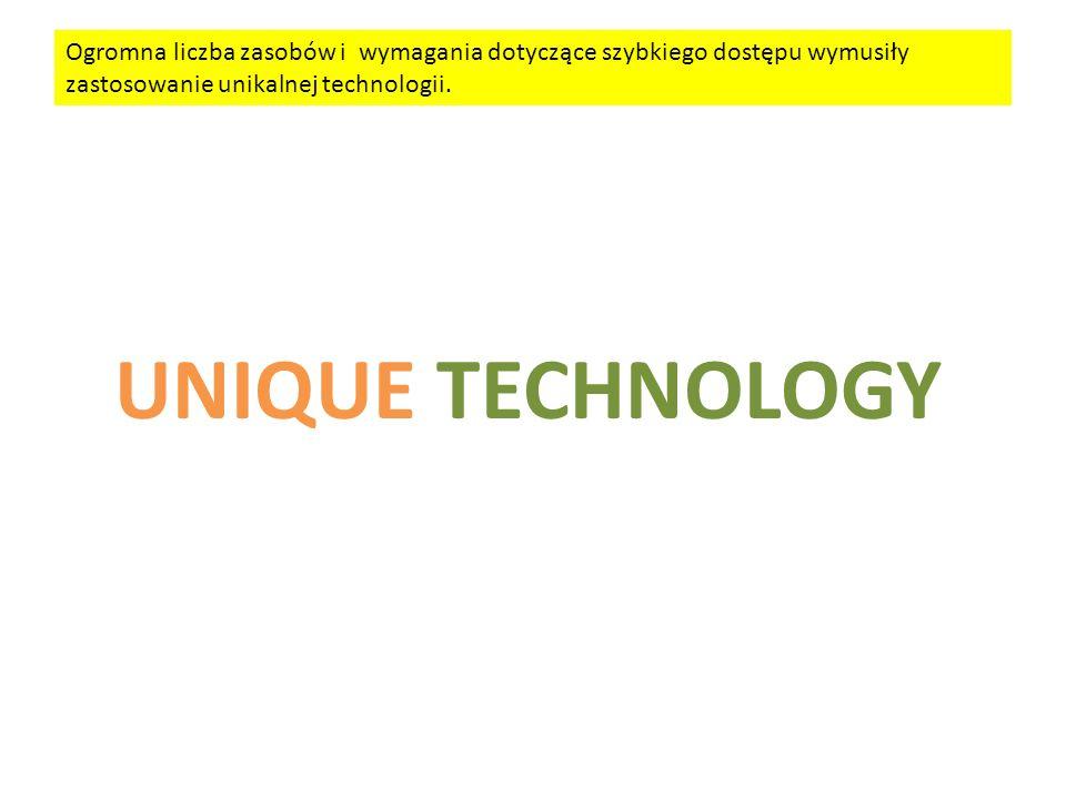 UNIQUE TECHNOLOGY Ogromna liczba zasobów i wymagania dotyczące szybkiego dostępu wymusiły zastosowanie unikalnej technologii.