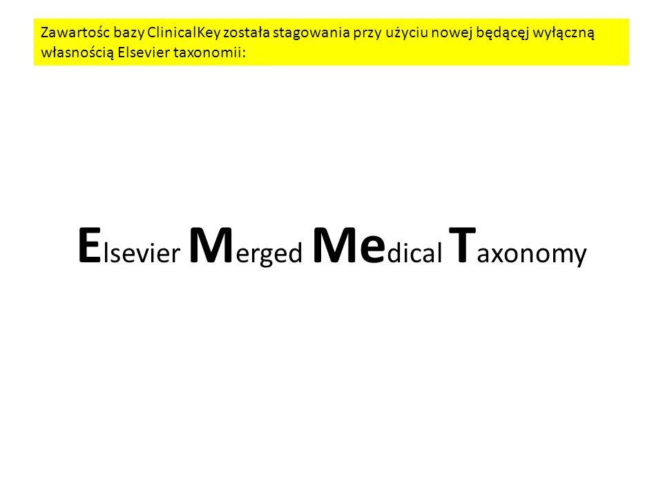 E lsevier M erged Me dical T axonomy Zawartośc bazy ClinicalKey została stagowania przy użyciu nowej będącęj wyłączną własnością Elsevier taxonomii: