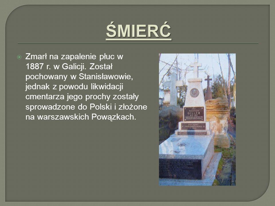 Zmarł na zapalenie płuc w 1887 r. w Galicji. Został pochowany w Stanisławowie, jednak z powodu likwidacji cmentarza jego prochy zostały sprowadzone do