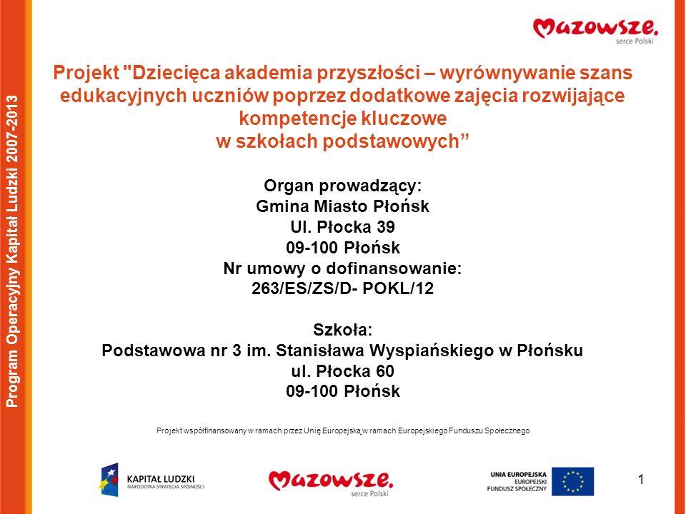 22 Projekt współfinansowany w ramach przez Unię Europejską w ramach Europejskiego Funduszu Społecznego Program Operacyjny Kapitał Ludzki 2007-2013