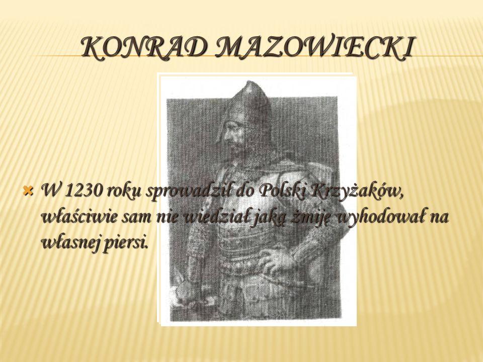 KONRAD MAZOWIECKI W 1230 roku sprowadził do Polski Krzyżaków, właściwie sam nie wiedział jaką żmiję wyhodował na własnej piersi. W 1230 roku sprowadzi