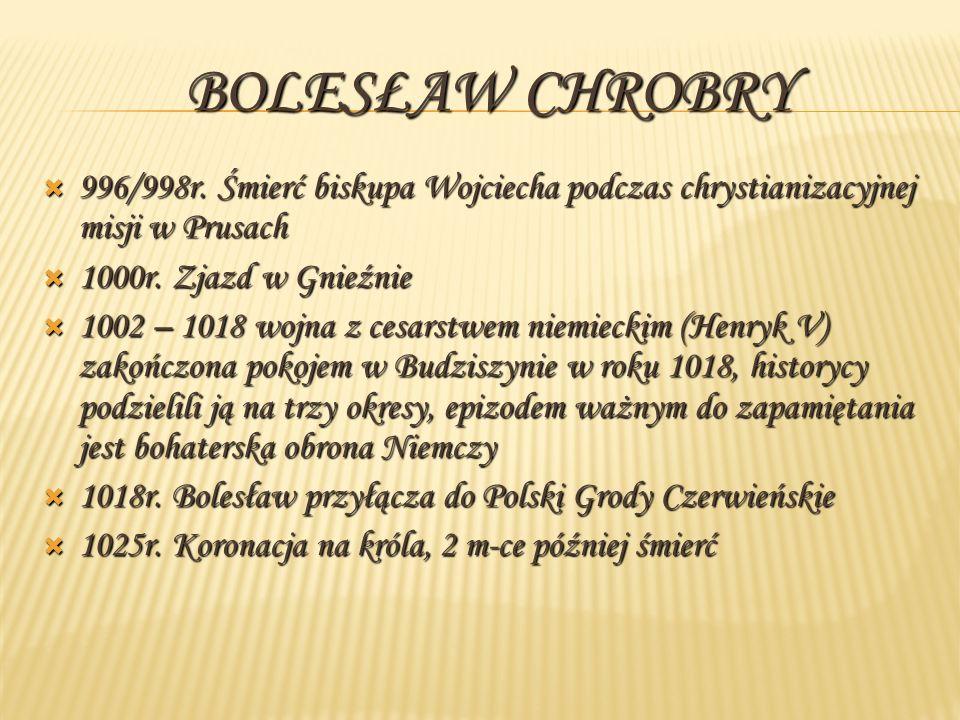 996/998r.Śmierć biskupa Wojciecha podczas chrystianizacyjnej misji w Prusach 1000r.