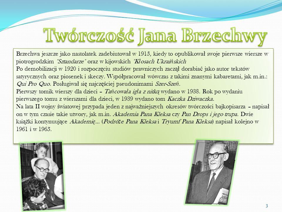 Brzechwa jeszcze jako nastolatek zadebiutowa ł w 1915, kiedy to opublikowa ł swoje pierwsze wiersze w piotrogrodzkim