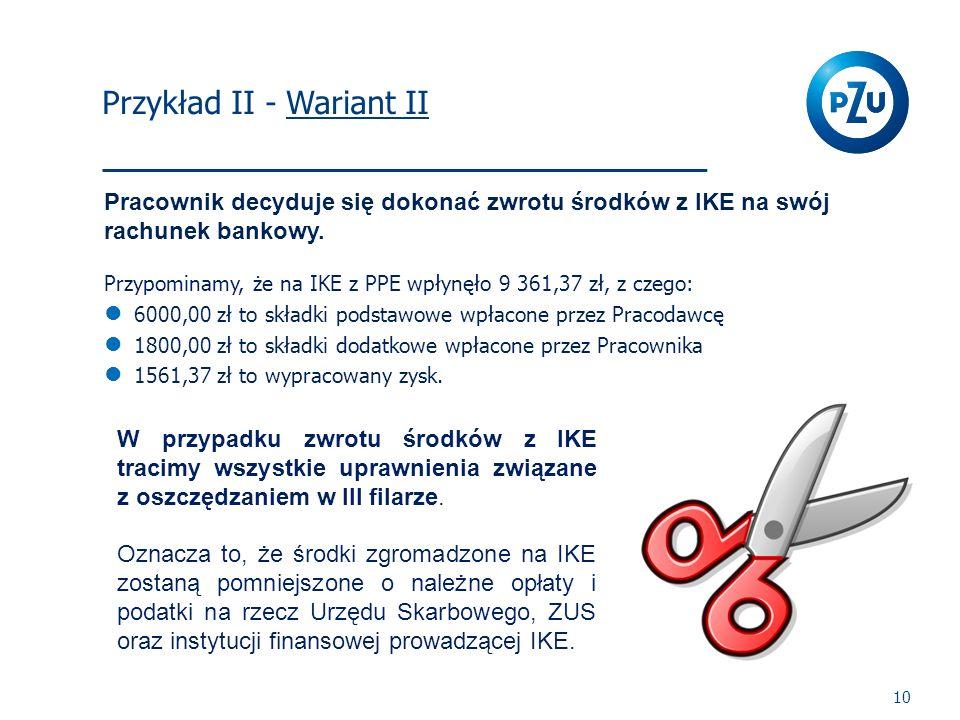 I Filar 10 Pracownik decyduje się dokonać zwrotu środków z IKE na swój rachunek bankowy. Przypominamy, że na IKE z PPE wpłynęło 9 361,37 zł, z czego: