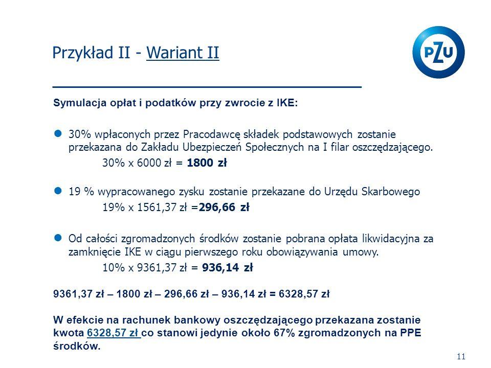 I Filar 11 Symulacja opłat i podatków przy zwrocie z IKE: 30% wpłaconych przez Pracodawcę składek podstawowych zostanie przekazana do Zakładu Ubezpiec