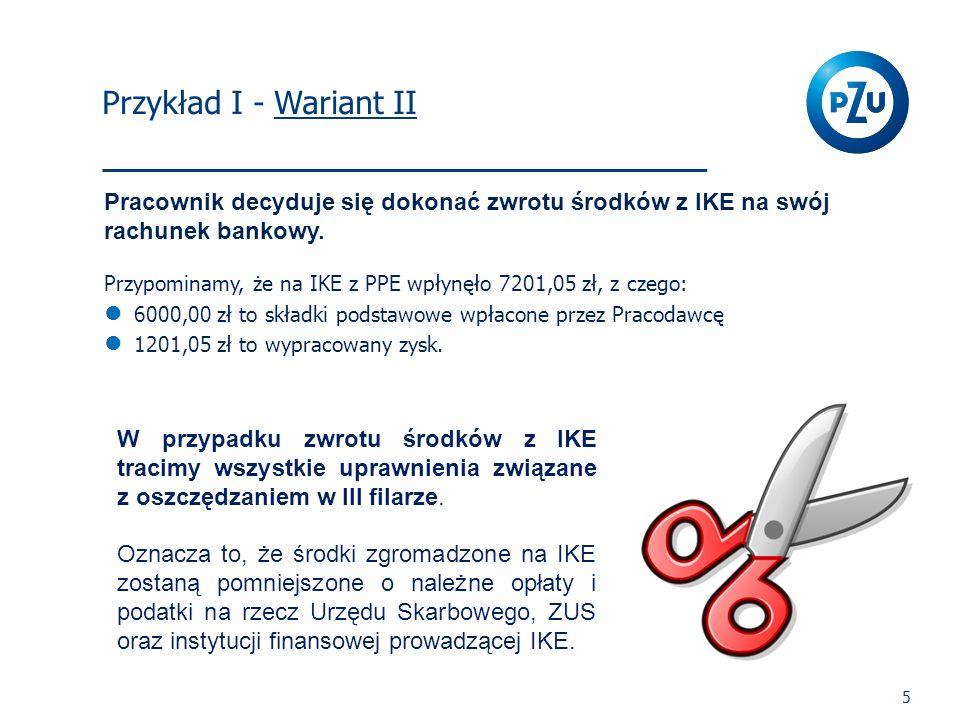 I Filar 5 Pracownik decyduje się dokonać zwrotu środków z IKE na swój rachunek bankowy. Przypominamy, że na IKE z PPE wpłynęło 7201,05 zł, z czego: 60
