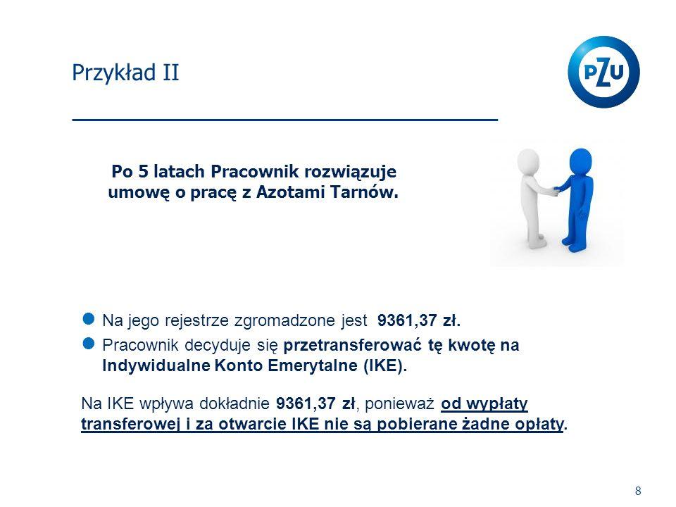 I Filar 8 Po 5 latach Pracownik rozwiązuje umowę o pracę z Azotami Tarnów. Na jego rejestrze zgromadzone jest 9361,37 zł. Pracownik decyduje się przet
