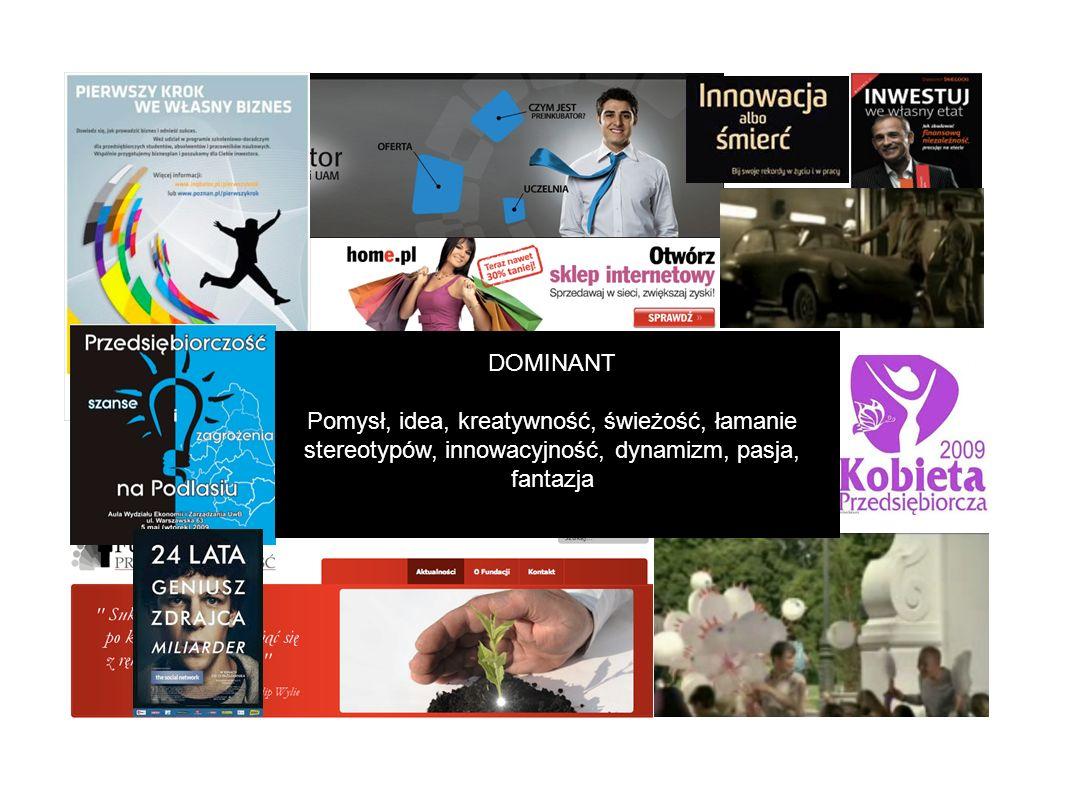 DOMINANT Pomysł, idea, kreatywność, świeżość, łamanie stereotypów, innowacyjność, dynamizm, pasja, fantazja
