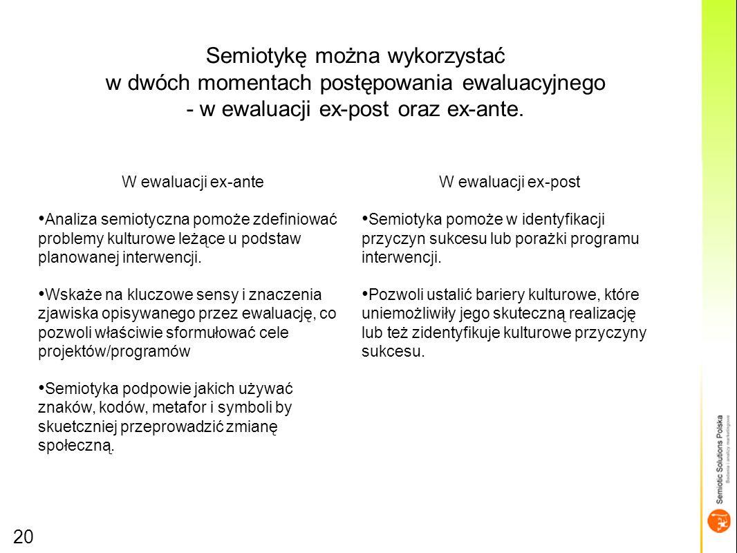 20 Semiotykę można wykorzystać w dwóch momentach postępowania ewaluacyjnego - w ewaluacji ex-post oraz ex-ante.