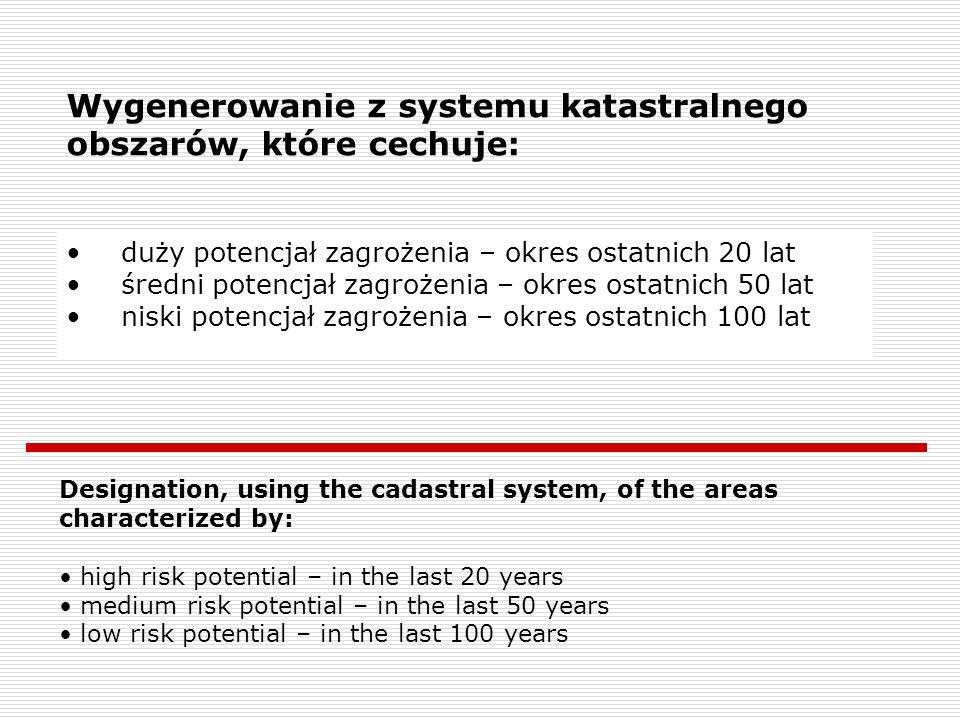 Wygenerowanie z systemu katastralnego obszarów, które cechuje: duży potencjał zagrożenia – okres ostatnich 20 lat średni potencjał zagrożenia – okres