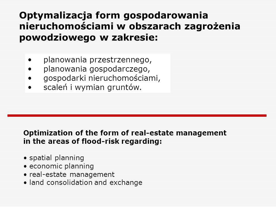 Optymalizacja form gospodarowania nieruchomościami w obszarach zagrożenia powodziowego w zakresie: planowania przestrzennego, planowania gospodarczego