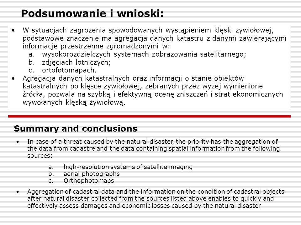 Podsumowanie i wnioski: W sytuacjach zagrożenia spowodowanych wystąpieniem klęski żywiołowej, podstawowe znaczenie ma agregacja danych katastru z dany