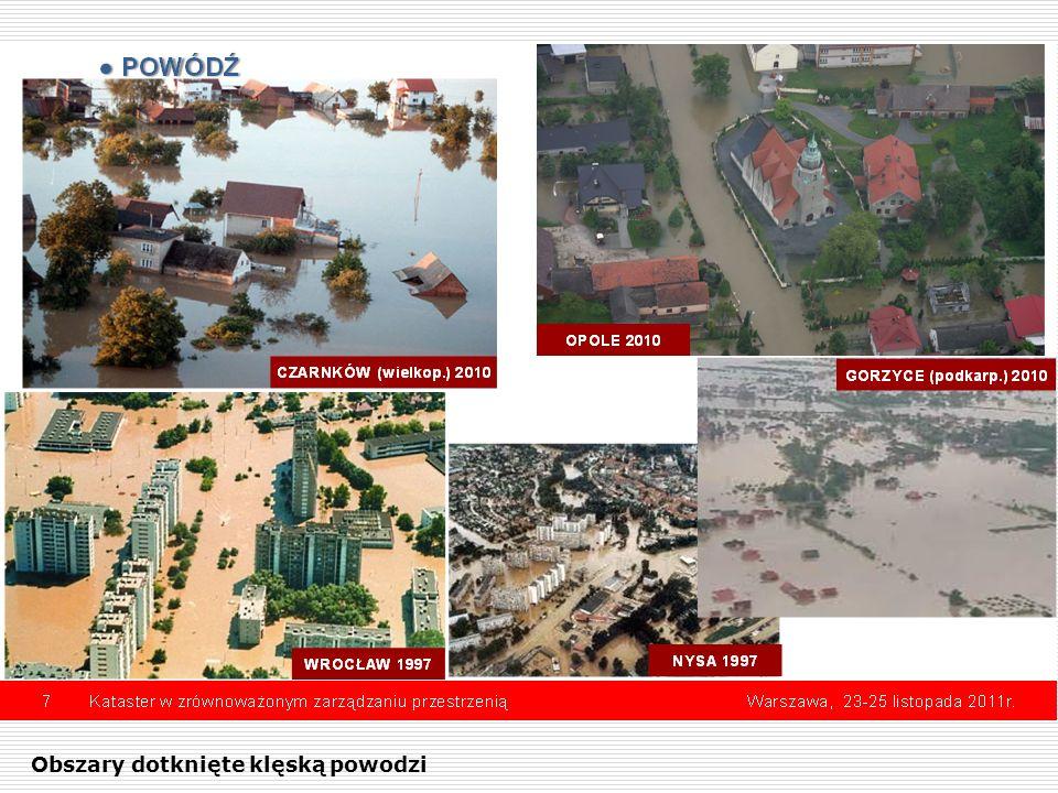 Obszary dotknięte klęską powodzi