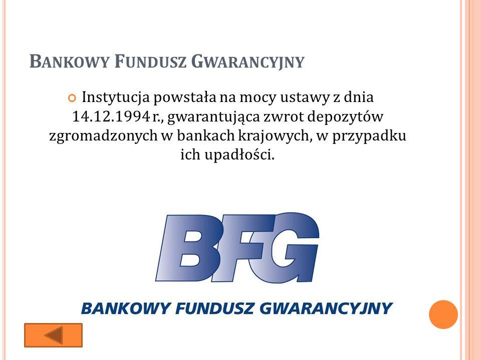 B ANKOWY F UNDUSZ G WARANCYJNY Instytucja powstała na mocy ustawy z dnia 14.12.1994 r., gwarantująca zwrot depozytów zgromadzonych w bankach krajowych, w przypadku ich upadłości.