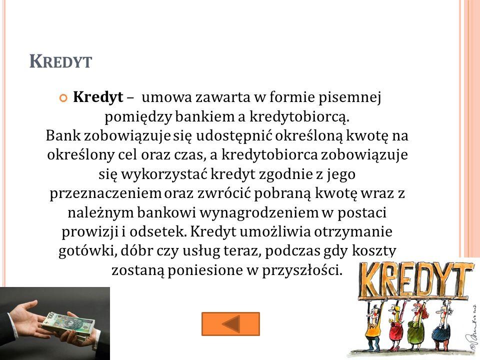 K REDYT Kredyt – umowa zawarta w formie pisemnej pomiędzy bankiem a kredytobiorcą.