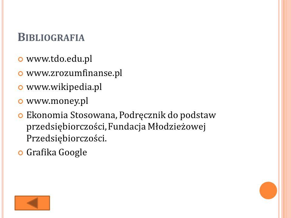 B IBLIOGRAFIA www.tdo.edu.pl www.zrozumfinanse.pl www.wikipedia.pl www.money.pl Ekonomia Stosowana, Podręcznik do podstaw przedsiębiorczości, Fundacja Młodzieżowej Przedsiębiorczości.