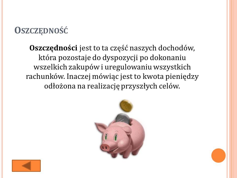 O SZCZĘDNOŚĆ Oszczędności jest to ta część naszych dochodów, która pozostaje do dyspozycji po dokonaniu wszelkich zakupów i uregulowaniu wszystkich rachunków.