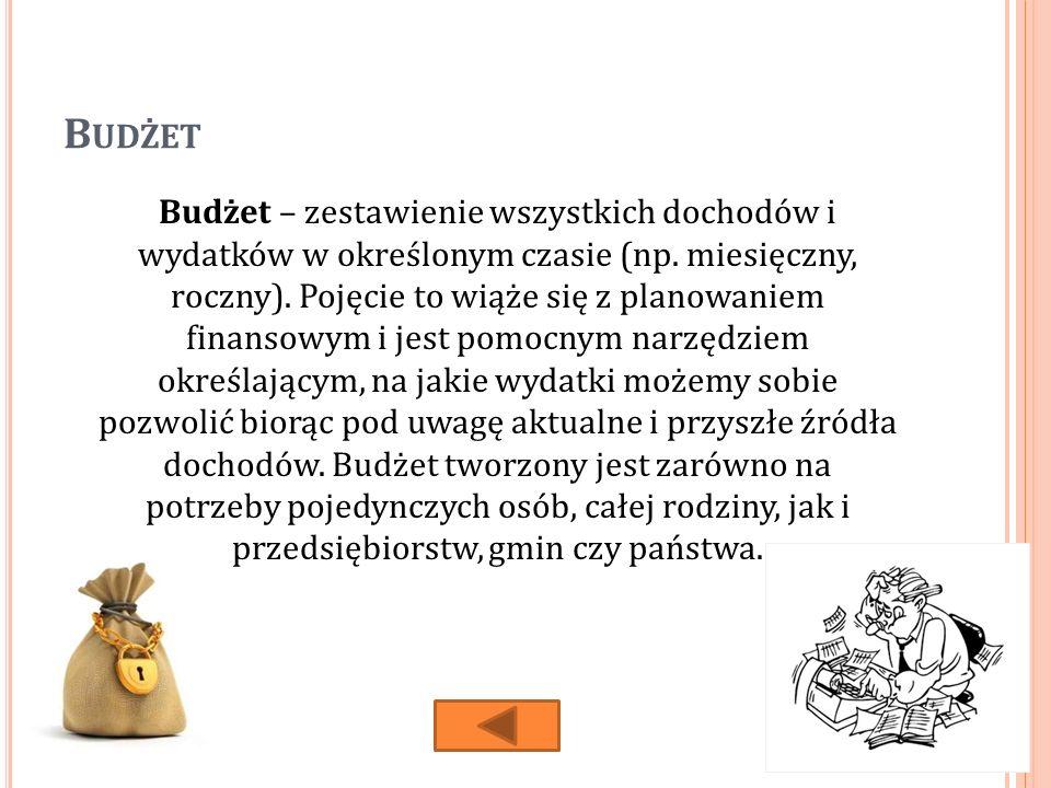 B UDŻET Budżet – zestawienie wszystkich dochodów i wydatków w określonym czasie (np.
