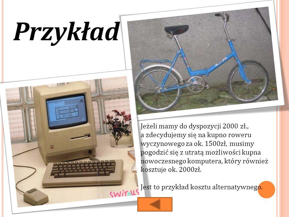 Przykład Jeżeli mamy do dyspozycji 2000 zł., a zdecydujemy się na kupno roweru wyczynowego za ok.