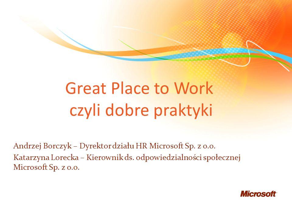 Microsoft Sp. z o.o. 350 pracowników 70% mężczyźni 30 % kobiety